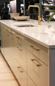 brass hardware on cabinets